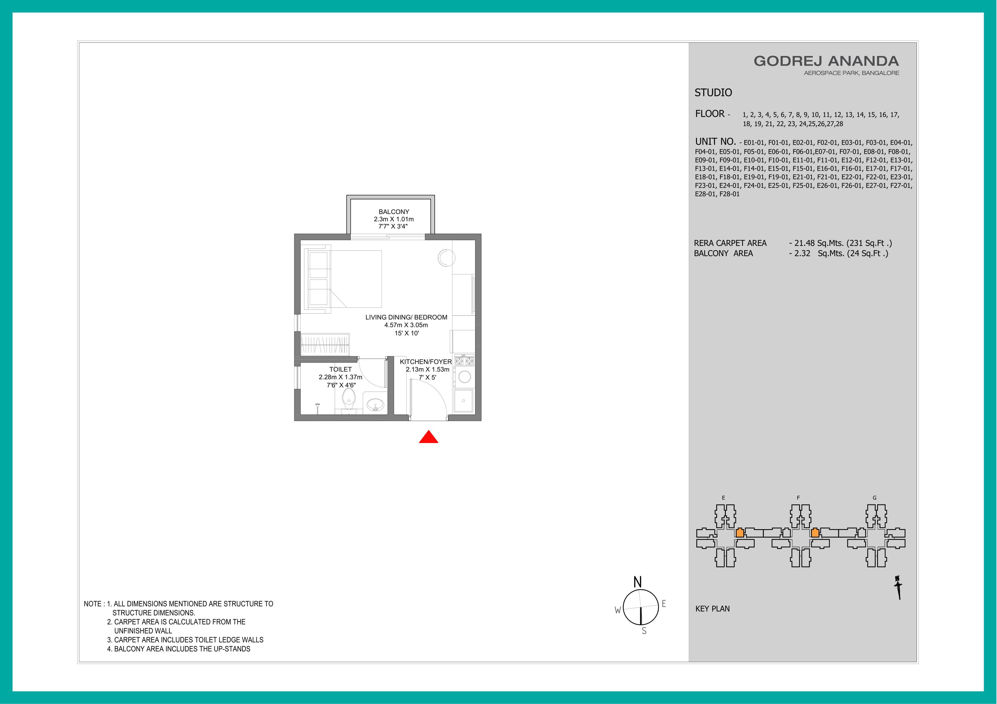 Godrej Ananda Floor Plan 1 BHK